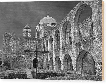 Mission San Jose Arches Bw Wood Print