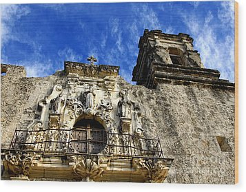 Wood Print featuring the photograph Mission San Jose Balcony And Tower by Lincoln Rogers