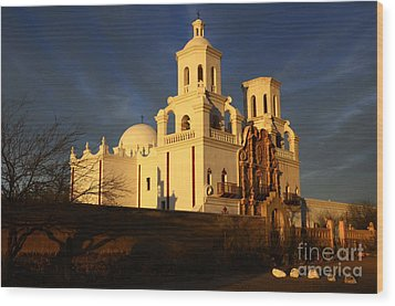 Mission San Xavier Del Bac Last Light Wood Print by Bob Christopher