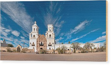 Wood Print featuring the photograph Mission San Xavier Del Bac Panorama by Dan McManus