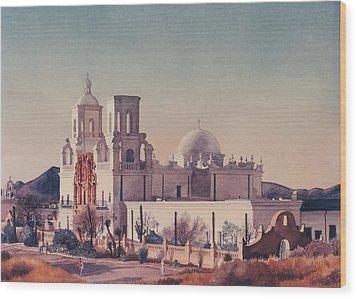 Mission San Xavier Del Bac Tucson Wood Print by Mary Helmreich