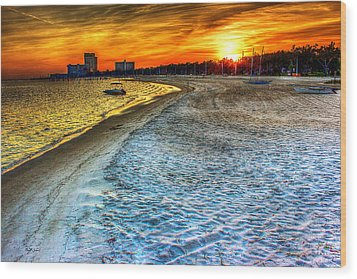 Beach - Coastal - Sunset - Mississippi Gold Wood Print by Barry Jones