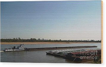Wood Print featuring the photograph Mississippi River Barge by Kelly Awad