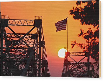 Wood Print featuring the photograph Mississippi River Bridge Sunset by Jim Albritton