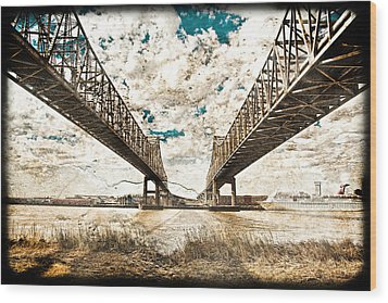 Wood Print featuring the photograph Mississippi River Bridge Twin Spans by Ray Devlin
