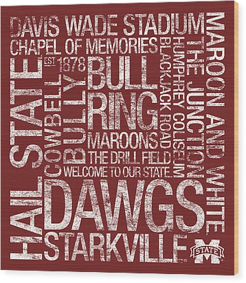 Mississippi State College Colors Subway Art Wood Print by Replay Photos