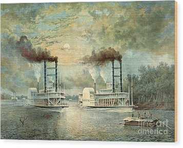 Mississippi Steamboat Race 1859 Wood Print by Padre Art