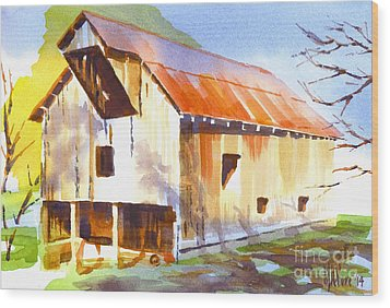Missouri Barn In Watercolor Wood Print