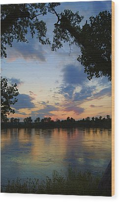 Missouri River Glow Wood Print by Cricket Hackmann
