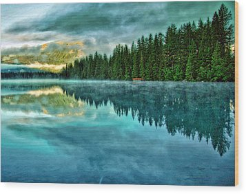 Mist And Moods Of Lake Beauvert  Wood Print by  Gregory McLemore