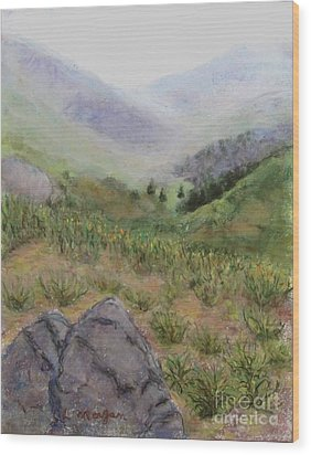Mist In The Glen Wood Print by Laurie Morgan