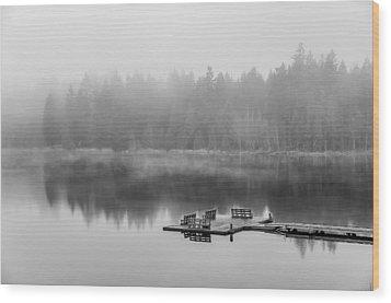 Mist On Lake Wood Print