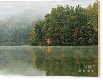 Mist On The  Lake Wood Print by Thomas R Fletcher