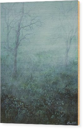 Mist On The Meadow Wood Print