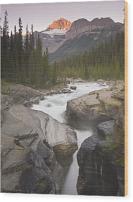 Mistaya Canyon And Mount Sarbach Wood Print