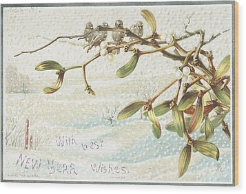 Mistletoe In The Snow Wood Print by English School