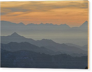 Mists In The Mountains At Sunset Wood Print by Guido Montanes Castillo