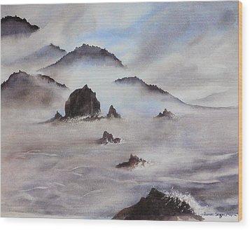 Mists Of Haystack Rock Wood Print