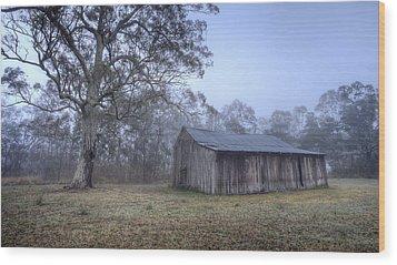 Misty Barn Wood Print by Steve Caldwell