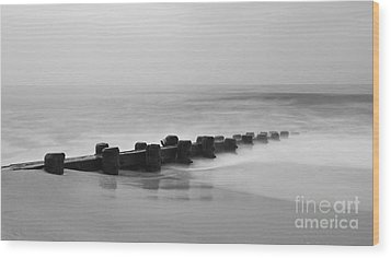 Misty Beach Morning Wood Print by Mark Miller