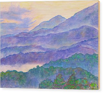 Misty Blue Ridge Wood Print by Kendall Kessler