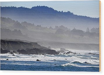 Misty Coast Wood Print by AJ  Schibig
