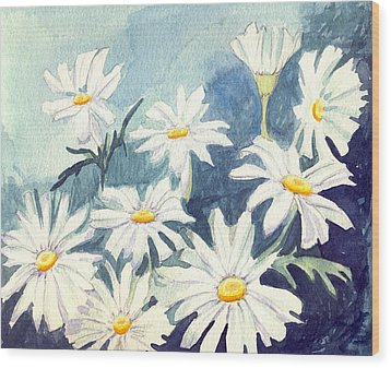 Wood Print featuring the painting Misty Daisies by Katherine Miller