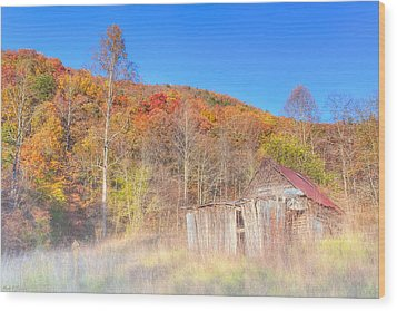 Misty Fall Morning In The Valley - North Georgia Wood Print by Mark E Tisdale
