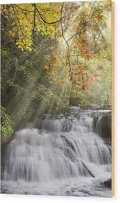 Misty Falls At Coker Creek Wood Print by Debra and Dave Vanderlaan