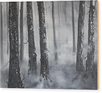 Wood Print featuring the painting Misty Forest by Jean Walker
