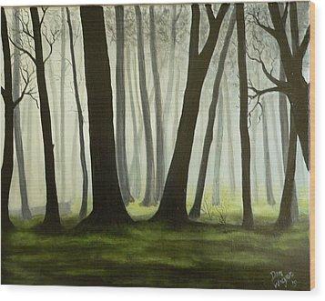 Misty Forrest Wood Print