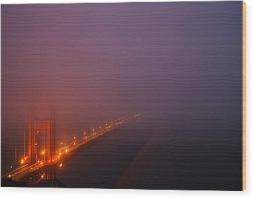 Wood Print featuring the photograph San Francisco - Misty Golden Gate  by Francesco Emanuele Carucci