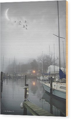 Misty Harbor Lights Wood Print by Brian Wallace