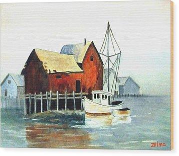 Misty Harbor Wood Print by Zelma Hensel