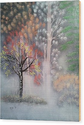 Misty Magic Forest Wood Print by Lee Bowman