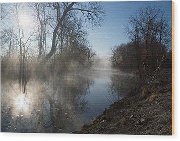 Misty Morning Along James River Wood Print