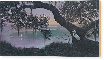 Misty Morning At Seabrook Wood Print by Blue Sky