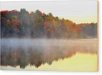 Misty Morning At Stoneledge Lake Wood Print by Terri Gostola