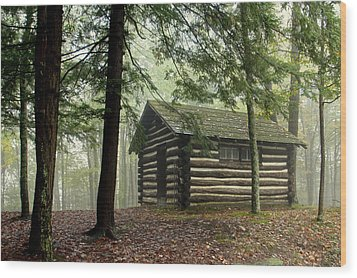 Misty Morning Cabin Wood Print by Suzanne Stout