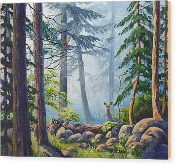 Misty Morning Wood Print by CB Hume