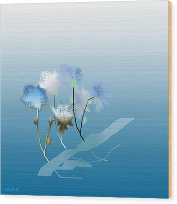 Wood Print featuring the digital art Misty Morning Flowers by Asok Mukhopadhyay
