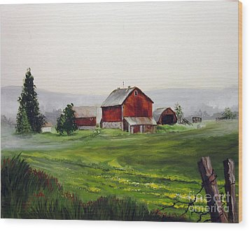 Wood Print featuring the painting Misty Morning In Apulia by Carol Hart