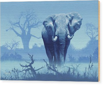 Misty Morning In The Tsavo Wood Print