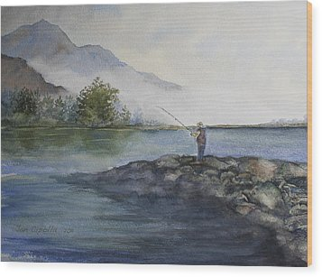 Wood Print featuring the painting Misty Morning by Jan Cipolla