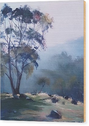 Misty Morning  Wood Print by Kathy  Karas