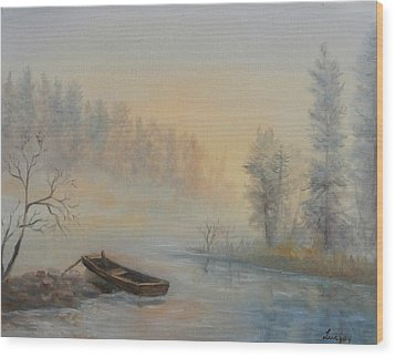 Wood Print featuring the painting Misty Morning by  Luczay