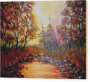 Wood Print featuring the painting Misty Morning Marsh by The GYPSY And DEBBIE