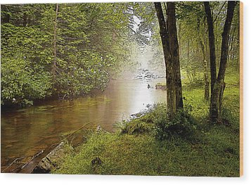 Misty Morning On A Mountain Stream Digital Art Wood Print