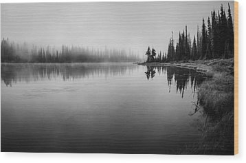 Misty Morning On Reflection Lake Wood Print by Brian Xavier