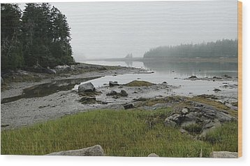 Misty Morning On The Rocky Coast Of Maine Wood Print